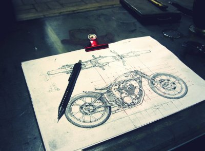 I love motorcycle drawings. Technical ones are the best. FACT. Drawing from Darizt Design (blogspot).