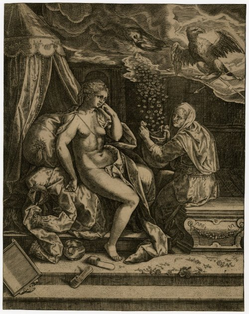 Danae seated on her bed after being visited by Jupiter Print made by Anonymous 1540-1580 The British Museum