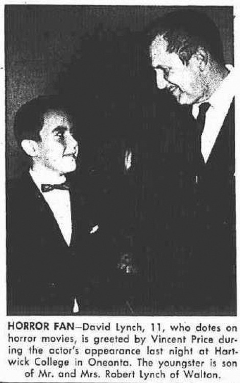 An 11-year-old David Lynch meets Vincent Price, via Reddit.