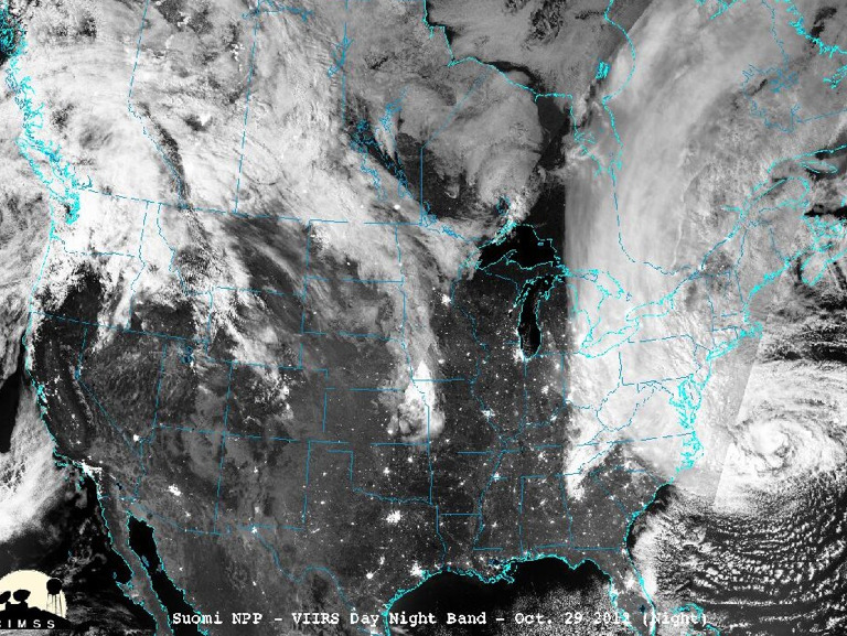 Composite image over several days of hurricane Sandy from the NASA Suomi satellite.