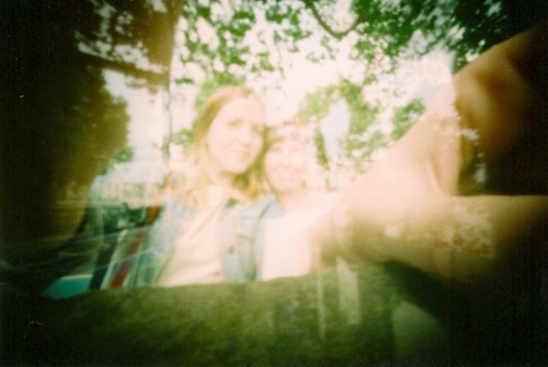 Me and Mother Hen, matchbox pinhole (double exposed)