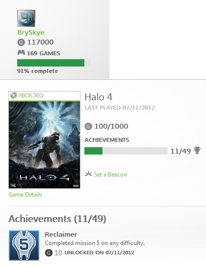 For Posterity. My #Xbox gamerscore has hit 117,000 thanks to the Reclaimer Achievement in #Halo4As a bonus, if you use the US Calender, you'll see I also did this on 11/7! @halowaypoint