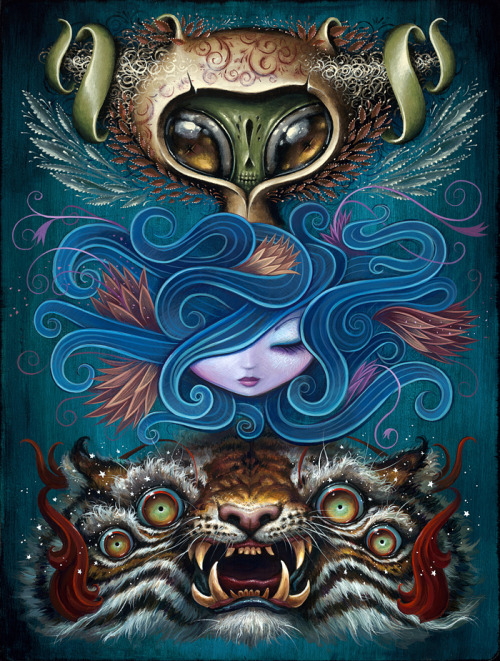 "fer1972:  ncwinters:  TOTEM (Original Painting)Three-way collaboration between Jason Limon, Jeremiah Ketner, and N.C. WintersAcrylic on panel, 14″ x 18.5″ $1500.00Available now as limited edition prints, 12"" x 16"" $50.00 each, only a few left! Get 'em both here.  Three talented Artists in a row!"