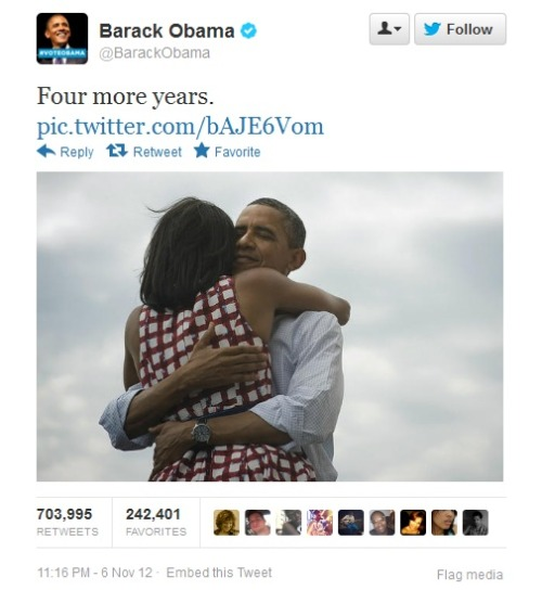 "madteam:  ""Four more years.""  A simple three words tweet from Obama has became the most popular tweet EVER on twitter with more than 700k retweets!https://twitter.com/BarackObama/status/266031293945503744/photo/1"