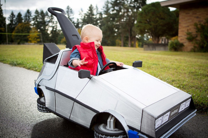 Baby Back to the Future Check out this cute little Marty McFly riding his mini Delorean! (via Inhabitat)