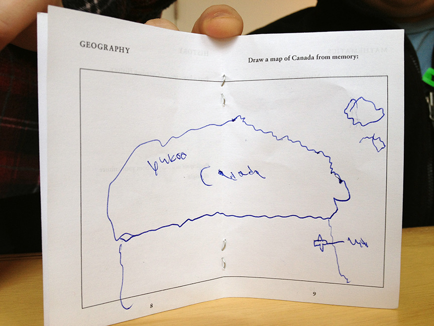 Imagined spaces emerged as JBS participants drew maps of Canada from memory.