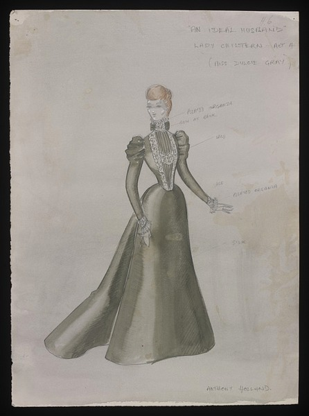 Costume design by Anthony Holland for Dulcie Gray in the 1965 production of An Ideal Husband. From the V&A