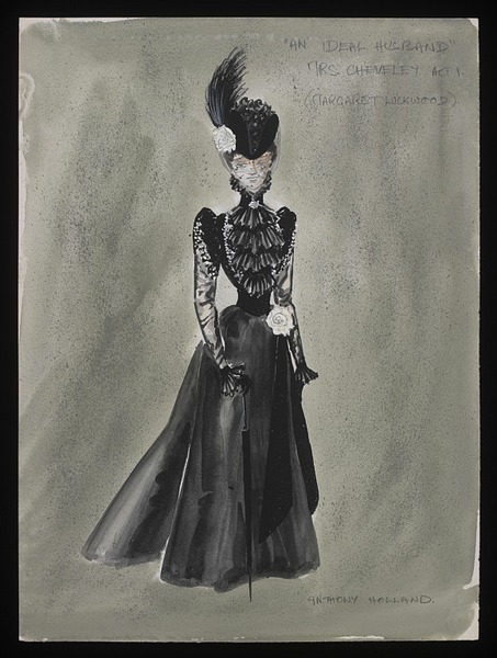 Costume design by Anthony Holland for Margaret Lockwood in the 1965 production of An Ideal Husband. From the V&A
