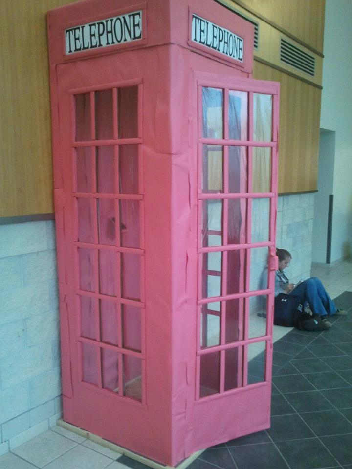 flexmccool:  The Doctor has a new TARDIS and is visiting UWGB….either that or students in the art department are very skilled. (Photo taken in MAC Hall)  This is the ultimate papercraft creation. The students who created this must be amazing and I pray that they have very successful careers.