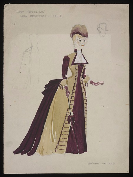 Costume design by Anthony Holland for Phyllis Dare in the 1946 production of Lady Frederick. From the V&A