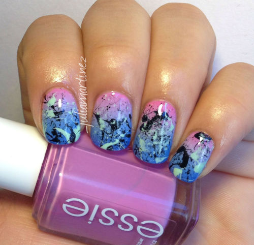 gradient nails with splatters