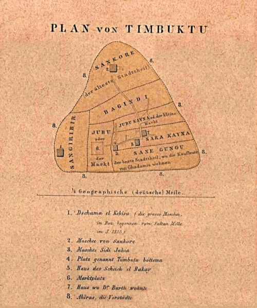 perfectlouse:  'Plan von Timbuktu', published in Petermann's Geographische Mitteilungen (1855) Rene Caillie was given 10,000 francs in 1828 for being the 'first' non-Muslim/Westerner to enter the city, disguising himself as a Muslim to do this safely (the guy before him was killed..)