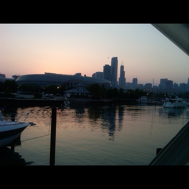 Sunset over the Chicago skyline from sitting atop a yacht in Lake Michigan. (at Chicago, Illinois)
