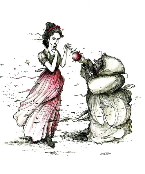 Snow white and the wicked witch (ink and watercolor)