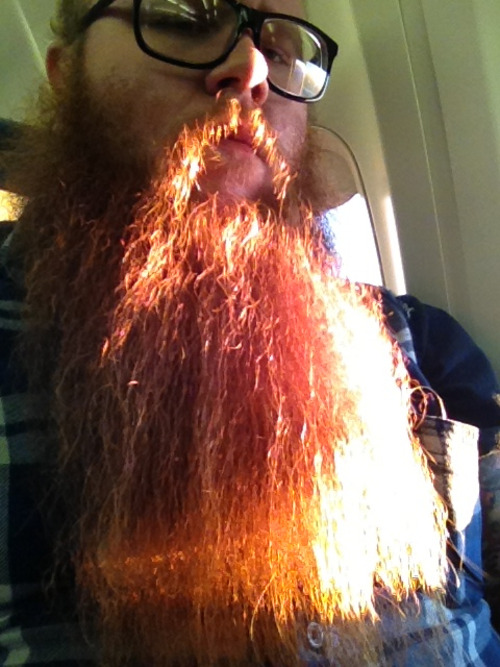 "Took this yesterday on the plane. ""No shave November"" is going swimmingly."