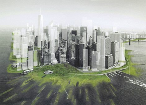 """NYR Design from Disasters Martin Filler. Nov 5, 2012 As we contemplate the horrific damage caused by Hurricane Sandy, the world of design may seem remote from our most immediate concerns. Yet the urgent needs that follow large-scale catastrophes—the need for shelter, clean water, alternative sources of power—can be particularly conducive to creative solutions. I recentlyobserved that breakthroughs in architecture and industrial design have emerged during wartime; now a remarkable new exhibition in Oslo shows that the same can hold true for natural disasters as well. Presented by Norsk Form, the Foundation for Design and Architecture in Norway,Design Without Borders (the title is an obvious nod to Médecins Sans Frontières) presents realistic mock-ups of fourteen problem-solving design initiatives—ranging from post-hurricane relief to land-mine removal—in Norsk Form's DogA exhibition space, which occupies a cavernous turn-of-the-twentieth-century power station in Oslo. For example, a life-size replica of a post-disaster shelter features insulated walls made from empty plastic beverage bottles stacked and held in place with chicken wire within wooden frameworks. According to Leif Verdu-Isachsen, who organized the exhibition and edited its engaging catalog with Truls Ramberg,  After a natural disaster, we have about a two-week window of opportunity in which to engage the global public before its attention shifts elsewhere, so what we do has to be implemented very quickly. Furthermore, we know that on average these shelters will need to be used for about three years before permanent housing can be built, so the combination of rapid assembly and relative durability is essential."" Photo:  proposed ""greening"" of Lower Manhattan to absorb storm surges, designed by Stephen Cassell, Adam Yarinski, and Susannah C. Drake for the exhibition Rising Currents, Museum of Modern Art, 2010. ARO/dlandstudio/Museum of Modern Art"
