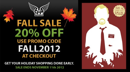 It's sale time at www.604republic.com and from now until November 11th you can get 20% off your order by using the promo code 'FALL2012'!