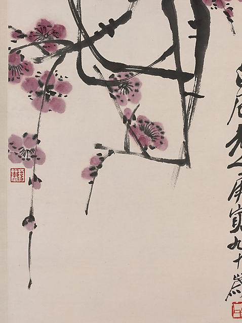 "cavetocanvas:  Qi Baishi, Plum Blossoms, 1950 From the Metropolitan Museum of Art:  This painting of a mauve blossoming plum is unusual in Qi Baishi's oeuvre because Qi loved the cheerfulness of bright red and usually painted plum blossoms in that color. The pendant branches intersect with one another, forming an abstract network of calligraphic lines that is barely organic. Qi Baishi's later plum paintings are primarily inspired by Wu Changshuo (1844–1927), who introduced an epigraphic aesthetic to the art of painting. In this work, the absence of spatial depth, the even width and smooth turns of the twigs, and the pronounced parallelism of the interlaced branches attest to Qi's indebtedness to Wu as well as his solid discipline in seal-carving and epigraphy. Qi's paintings are first of all reflections of things and feelings that he had personally experienced in life. In the case of plum blossoms, his fondness of this subject resulted from nostalgia for his hometown in Hunan, where his dwelling, named ""Studio of Hundred Plums,"" was surrounded by a plum grove."