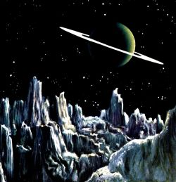 Chesley Bonestell Saturn from Titan