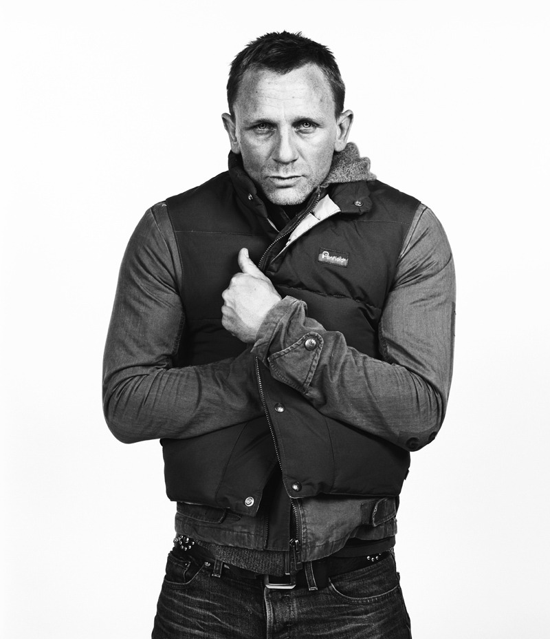 An oldie but goody of fellow Liverpool FC supporter Daniel Craig to coincide with the US release of the new Bond flick 'Skyfall'. Taken back in the day just before he got the nod to play 007. Shot at the Sundance Film Festival for Premiere magazine while he was promoting 'Layer Cake'. Poor pet was chilly so he got his self snuggle on for the portrait…