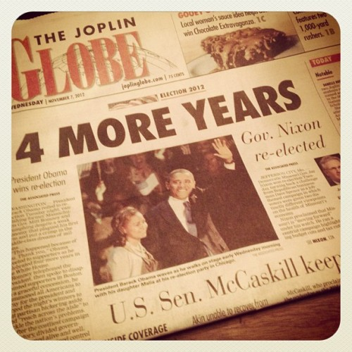 This morning's headline! #4MoreYears! @barackobama