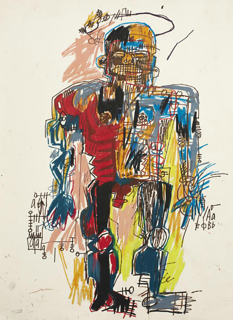 JEAN-MICHEL BASQUIATSelf-Portrait, 1982colored crayon, black felt tip pen, and acrylic on Arches wove papersheet: 29 7/8 x 22 1/4 in. (75.9 x 56.5 cm)ESTIMATE $2,500,000 - 3,500,000 To be auctioned at Phillips de Pury, check out their rad tumblr
