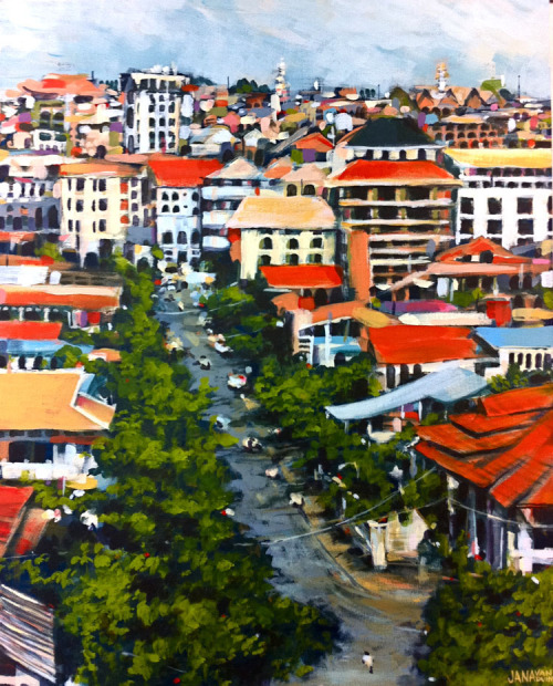 Cityscape: Pohnpei, Cambodia… Acrylic on Canvas