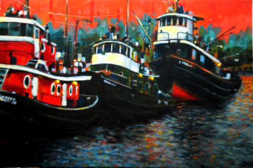 Tugboats (Acrylic on Canvas 2'X3')
