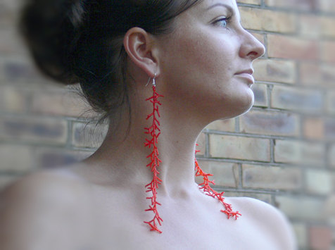 (via Long Red Earrings Extra Long EarringsBeaded by AdoriaJewelry)