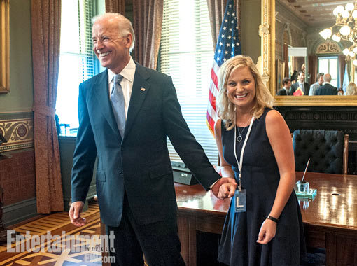 "entertainmentweekly:  As Leslie Knope once told us, ""Joe Biden is on my celebrity sex list — well, he is my celebrity sex list."" So she must be pretty pumped that the once and future vice president is going to guest star on Parks and Recreation.  Please let Biden play himself in a naughty Knope dream."