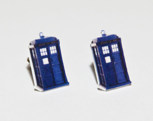 $10 Doctor Who earrings! Check out my shop for other designs, or submit an idea! http://www.etsy.com/shop/HeidiEgerDesign