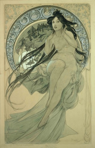 frivolous:  Alphonse Mucha. The Arts: study for 'Music' (1898)