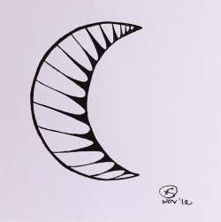 — © X. S. 11.01.12 Just a simple waning crescent moon. I've been preoccupied with writing instead of drawing the last few days. When the muse speaks, I listen (er, write!).
