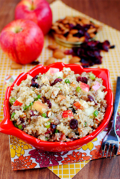 yummyinmytumbly:  Apple Almond Quinoa with Maple Sausage