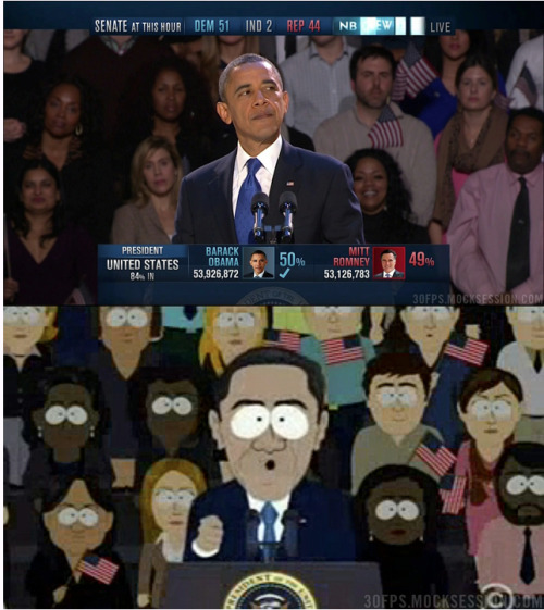 based-world:  This is why South Park is legendary. They replicated EVERYONE from last night behind Obama.