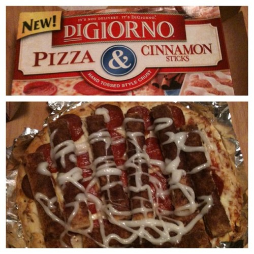 DiGiorno Pizza & Cinnamon Sticks! …Gary and I baked them together. #arewedoingthisright
