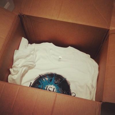 Illusions shirts are done and in the box to ship back to Indiana.  @zack_couch @greghillindy @illusionsindy  #print #band #merch #illusions