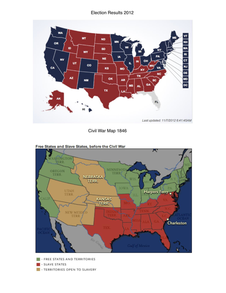 Free & Slave States Pre-1861 (Civil War). Red & Blue States 2012 Election.