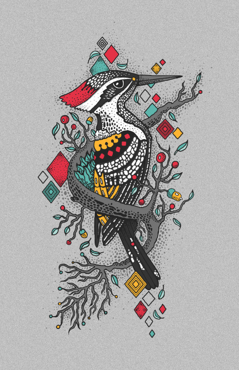 """The Woodpecker Forest"" Scoring Open Illustración para Threadless. Noviembre 2012"