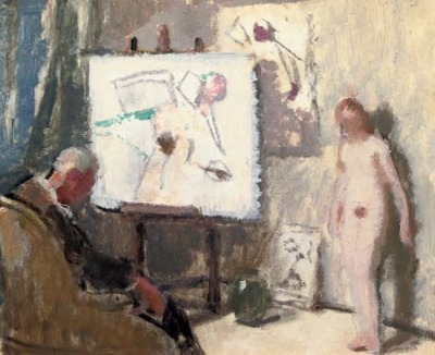 Lucien Victor Guirand de Scévola (1871-1950), The painter and his model (de Scévola also happens to be one of the inventors of modern military camouflage. An early field experiment: cannons painted with zebra stripes.)