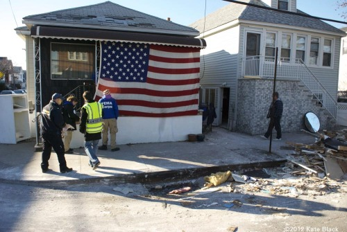 FEMA visits a home in Broad Channel, Queens. November 6th, 2012.  I shot this eight days after the storm. This has been the only FEMA presence I've seen. They pulled out for inclement weather before the second storm hit. The Nor'easter Athena brought several inches of snow, and threatened to re-flood already compromised areas.