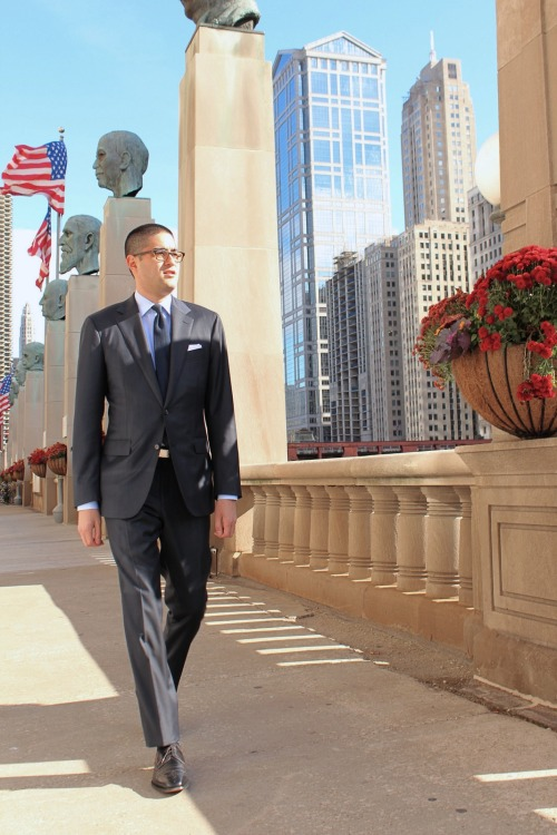 Proper Suit review fit details:  Suit: Proper Suit navy blue Loro Piana wool All-Season sharkskin Shirt: Hemrajani Brothers Tie: Vanda Fine Clothing navy fina-weave grenadine Pocket Square: Howard Yount white linen Belt: Beltmaster strap & vintage silver slide buckle Socks: Pantherella Shoes: Allen Edmonds Bel Air