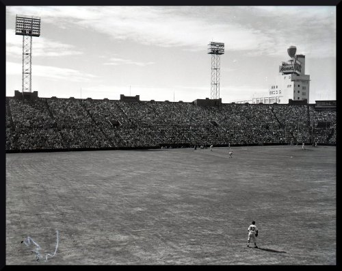 wrigleyfieldwest:  1957. VIEW FROM CENTERFIELD. SEALS STADIUM. SAN FRANCISCO.