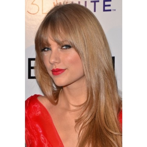 teddyroo:   Taylor-Swift-straight-hair-bangs-images ❤ liked on Polyvore