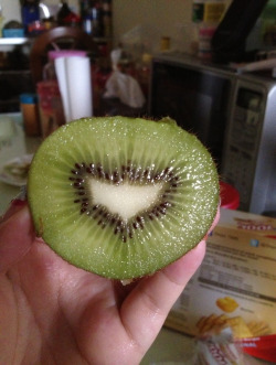 Batman Kiwi! I saw this a few months ago from 9gag and I thought it was photoshopped or something  but turns out it wasn't! It was my breakfast routine and I bought few kiwis the day before. I was so surprised and thought it was amazing.. Hahaha.. Quickly took a pic of it and here it is..
