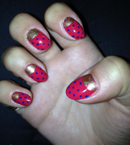 Pink & blue polka dots with gold tips