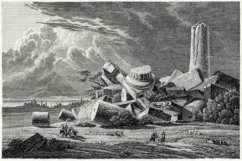 Selinunte (Selinus).  From Historische Bilder-Gallerie (Historical image gallery), by Wilhelm von Chézy, Carlsruhe, not dated.  (Source: archive.org)
