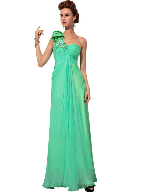 Ingrid in One Shoulder Embellished Green Dress £185.00 Simple green evening dress featuring one shoulder A Line silhouette, floor length chiffon overlay, pleated bodice, and embellished beaded shoulders