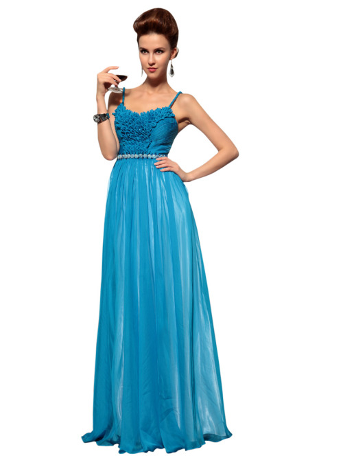 TESSA IN BLUE CHIFFON EVENING DRESS  SKU# 30686 Availability: In stock £175.00 Formal evening wear in royal blue color featuring sleeveless A Line silhouette, spaghetti straps, pleated bodice with unique front design, and slim belt on waistline embellished with blue stones and beads. Please send us a message to inquire about plus sizes and other color options.