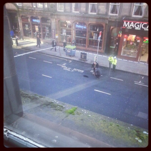 seonaidhofglasgow:  There's a mystery pothole. Police are looking into it.  Best pothole post of the year. 007 on the case along with Scotland Yard